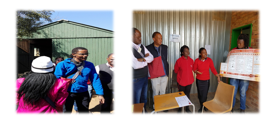 Picture on left, Fr. Meshack Mariri on a pilgrimage to 'Alaska', a Mamelodi informal Settlement where together with Fr Jonathan Londt, in a jacket on right picture, visited a safety home for abused children and women