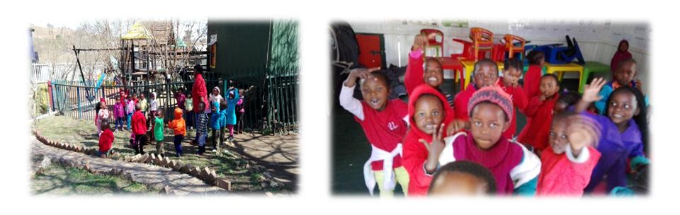 Above, enthusiastic children at a crèche in 'Alaska', a Mamelodi informal settlement